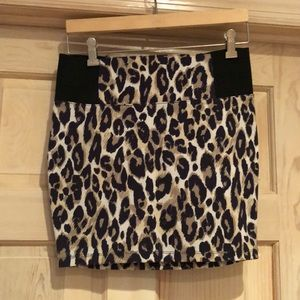 Leopard Print Fitted Skirt